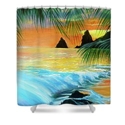 Beach Sunset Shower Curtain by Jenny Lee