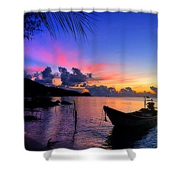 Beach Sunset Shower Curtain by Julita Pietrzyk