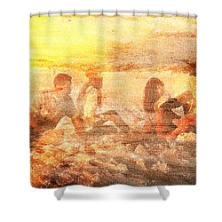 Beach Sunset With Friends Shower Curtain by Andrea Barbieri