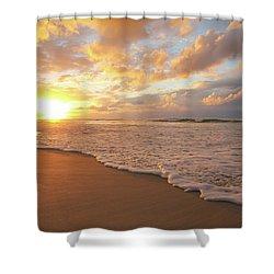 Beach Sunset With Golden Clouds Shower Curtain