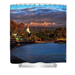 Beach Town Of Kailua-kona On The Big Island Of Hawaii Shower Curtain by Sam Antonio Photography