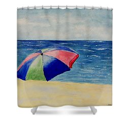 Shower Curtain featuring the painting Beach Umbrella by Jamie Frier