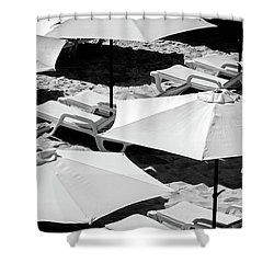 Shower Curtain featuring the photograph Beach Umbrellas by Marion McCristall