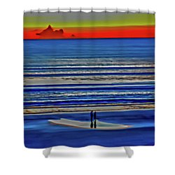 Beach Walking At Sunrise Shower Curtain