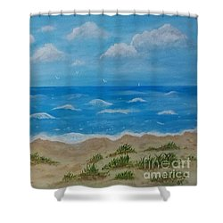 Shower Curtain featuring the painting Beach Waves by Sonya Nancy Capling-Bacle