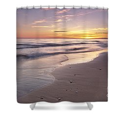 Beach Welcoming Twilight Shower Curtain