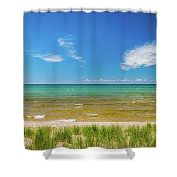 Beach With Blue Skies And Cloud Shower Curtain