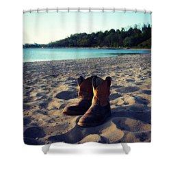 Beached Boots Shower Curtain by Cyryn Fyrcyd