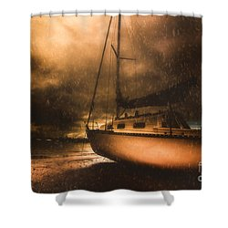 Shower Curtain featuring the photograph Beached Sailing Boat by Jorgo Photography - Wall Art Gallery