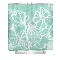 Shower Curtain featuring the mixed media Beachglass And White Flowers 2- Art By Linda Woods by Linda Woods