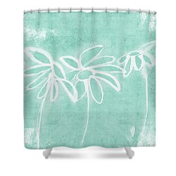 Shower Curtain featuring the mixed media Beachglass And White Flowers 3- Art By Linda Woods by Linda Woods