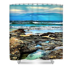 Shower Curtain featuring the photograph Beachscape At Hungry Head  by Wallaroo Images
