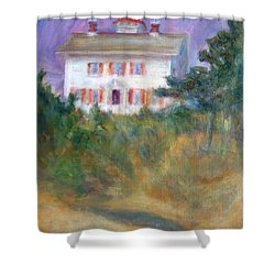 Beacon On The Hill - Lighthouse Painting Shower Curtain by Quin Sweetman