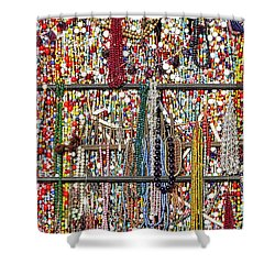 Beads In A Window Shower Curtain