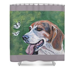 Shower Curtain featuring the painting Beagle And Butterflies by Lee Ann Shepard
