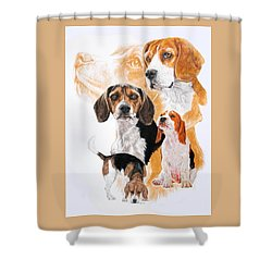 Beagle W/ghost Shower Curtain by Barbara Keith