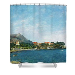 Shower Curtain featuring the painting Bealieu - The Bay Of Fourmis by Eugene Boudin