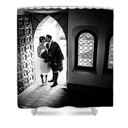 Beaming Newlyweds Shower Curtain