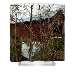 Bean Blossom Bridge Shower Curtain by Russell Keating