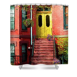 Beantown Brownstone With Yellow Doors Shower Curtain