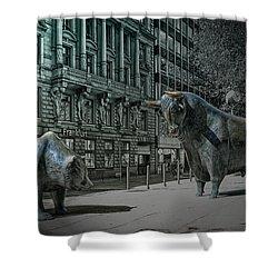 bear and bull Frankfurt Shower Curtain by Joachim G Pinkawa