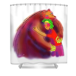 Bear Hug Shower Curtain by Angela Treat Lyon