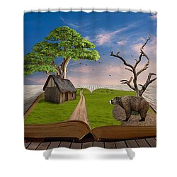 Shower Curtain featuring the mixed media Bear In Mind by Marvin Blaine