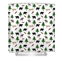 Shower Curtain featuring the mixed media Bear Moose Pattern by Christina Rollo