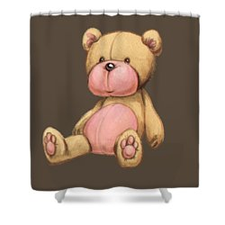 Bear Pink Shower Curtain by Andy Catling
