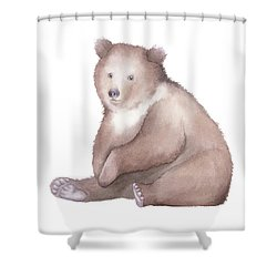 Bear Watercolor Shower Curtain by Taylan Apukovska