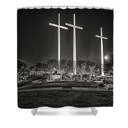 Shower Curtain featuring the photograph Bearing Witness In Black-and-white 2 by Andy Crawford