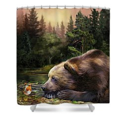 Shower Curtain featuring the mixed media Bear's Eye View by Carol Cavalaris