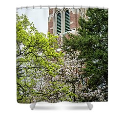 Beaumont Tower In Spring With Trees Shower Curtain by John McGraw