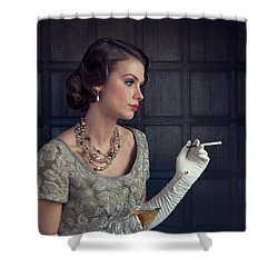 Beautiful 1930s Woman With Cocktail And Cigarette Shower Curtain