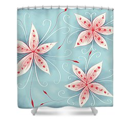Beautiful Abstract White Red Flowers Shower Curtain