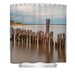 Shower Curtain featuring the photograph Beautiful Aging Pilings In Keyport by Gary Slawsky