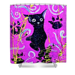 Shower Curtain featuring the mixed media Beautiful Black Pussy by eVol i