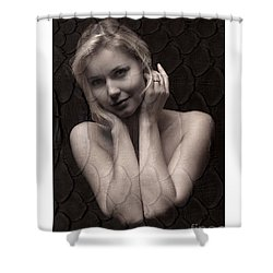Shower Curtain featuring the photograph Beautiful Blonde Posing by Michael Edwards