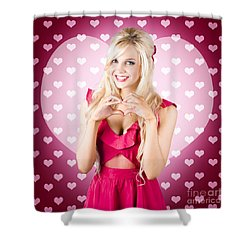 Beautiful Blonde Woman Gesturing Heart Shape Shower Curtain by Jorgo Photography - Wall Art Gallery