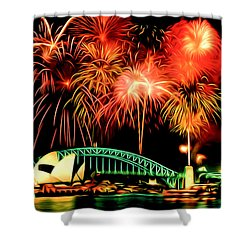 Beautiful Colorful Holiday Fireworks 2 Shower Curtain by Lanjee Chee
