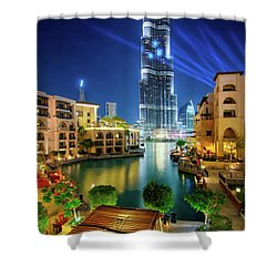Beautiful Downtown Area In Dubai At Night, Dubai, United Arab Emirates Shower Curtain