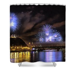 Beautiful Fireworks In Budapest Hungary Shower Curtain