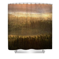 Beautiful Foggy Forest During Autumn Sunrise, Saxon Switzerland, Germany Shower Curtain