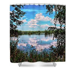 beautiful forest lake in Sunny summer day Shower Curtain