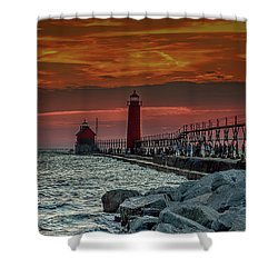Sunset At Grand Haven Pier Shower Curtain