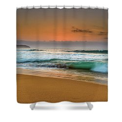 Beautiful Hazy Sunrise Seascape  Shower Curtain