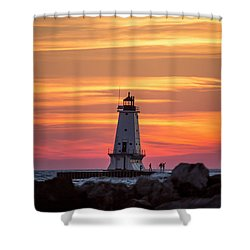 Shower Curtain featuring the photograph Beautiful Ludington Lighthouse Sunset by Adam Romanowicz