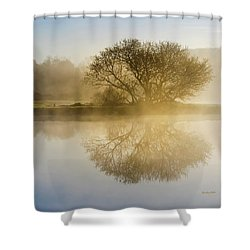 Shower Curtain featuring the photograph Beautiful Misty River Sunrise by Christina Rollo