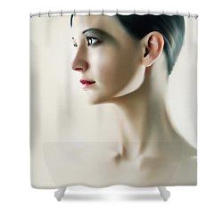 Shower Curtain featuring the photograph Beautiful Model Highkey Fashion Studio Portrait by Dimitar Hristov