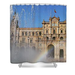 Beautiful Rainbow On Seville's Plaza Shower Curtain